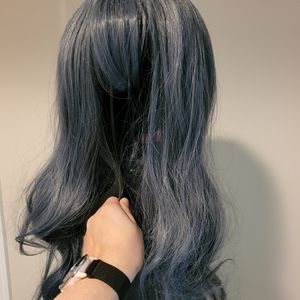 Grey blue Lolita wig with gift